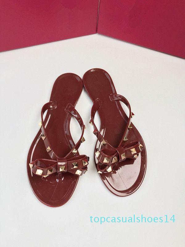 New Summer Women Flip Flops Slippers Flat Sandals Bow Rivet Fashion Pvc Crystal Beach Shoes