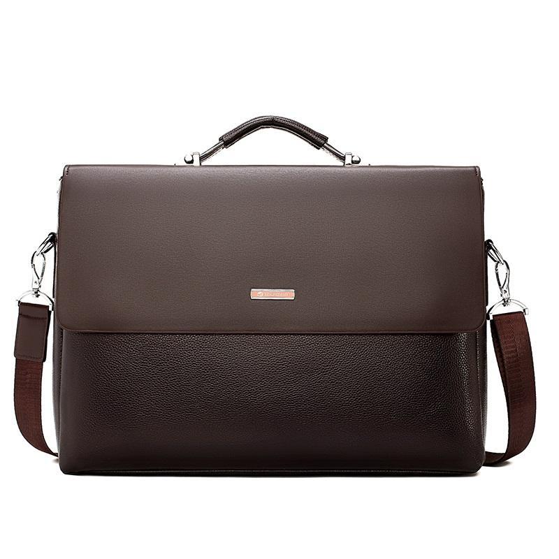 US Mens Black Genuine Leather Briefcase Laptop Handbag Business Shoulder Bag
