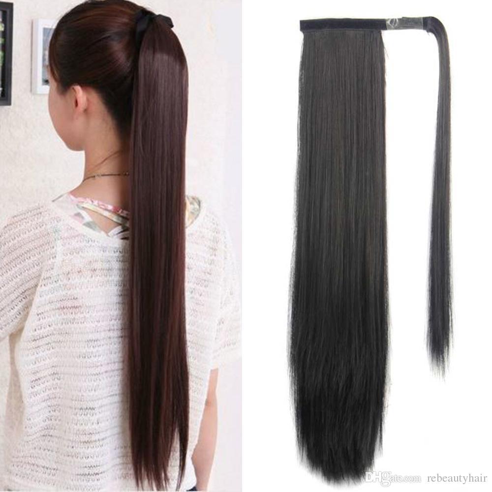 Rebeauty волос 24 дюймов длиной прямой зажим в волос Ponytail выдвижения Wrap Around Синтетический хвостик клип в наращивание волос Natural Ponytail