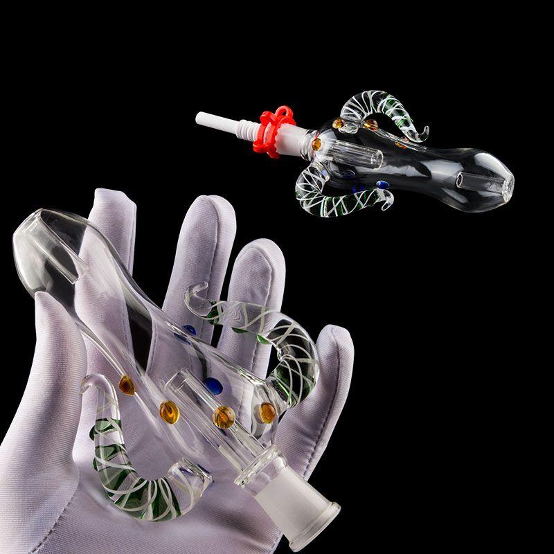 14mm 18mm Perc Glass Pipe Set With Domeless Titanium Nail Ceramic Nail Bong Banger Oil Burner Dab Rig For Smoking