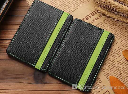 Mode Kleine Magie Wallet Magie Geldklammer Zipper Münzen Geldbörse Carteira Unisex Nubukleder dünne Mappe Identifikation Kreditkartenetuis
