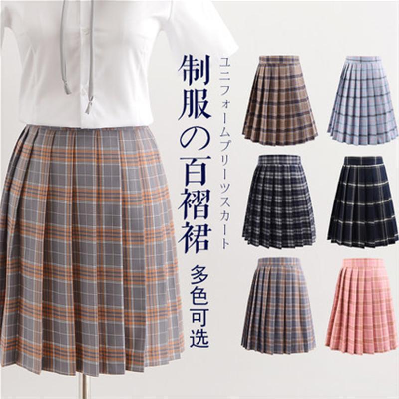 2019 femmes d'été haute jupe plissée à carreaux taille Femme Anime Jupes courtes plisowana spodnica Saia Curta femme plissee jupe