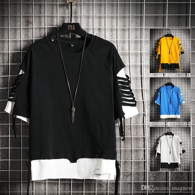 Mens Color Matching Buraco camiseta Verão solto manga curta Estilo de Hip Hop New Tees Masculino Designer Camiseta