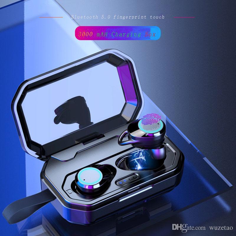 방수 노이즈 제거 자동 쌍의 모바일 전원 HD 전화 헤드셋 소리 스마트 블루투스 5.0 이어폰 지문 터치 바 이노 럴 스테레오 서라운드
