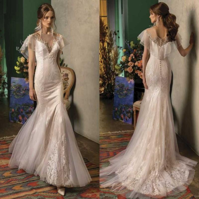 Papilio 2020 Overskirts Wedding Dresses Lace Appliqued Beach Bridal Gowns Custom Made Sweep Train Mermaid Wedding Dress