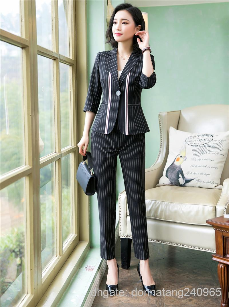 Büro Blazer Hosenanzug Frauen Casual Streifenjacke mit Lange Hose Weibliche Elegante Dünne Halbe Blazer Set Outwear Büro Dame Arbeitskleidung