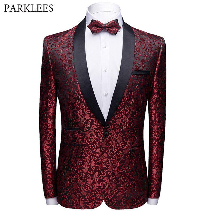 Floral Jacquard Homens Blazer Slim Fit Shawl Collar Mens Suit Jacket Botão Novo Single Men Wedding Party Tuxedo Blazer