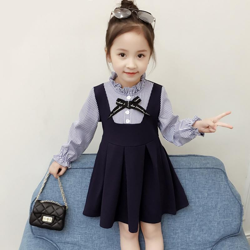 Girl Dress New Preppy Style Autumn Striped Dresses Children Clothing Kids Pleated Dress Girl Clothes with Bow 2-6Y