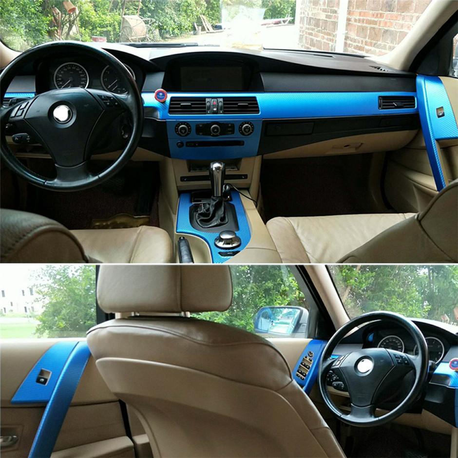 بي ام دبليو 5 سلسلة E60 2004-2010 الداخلية السيطرة المركزية لوحة مقبض الباب 5D من ألياف الكربون ملصقات الشارات السيارات التصميم ملحقاتها