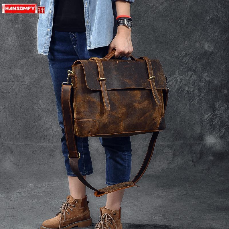 Couro importados retro bolsa de couro bolsa de laptop macho dos homens maleta clássico louco homens cavalo ombro Messenger sacos