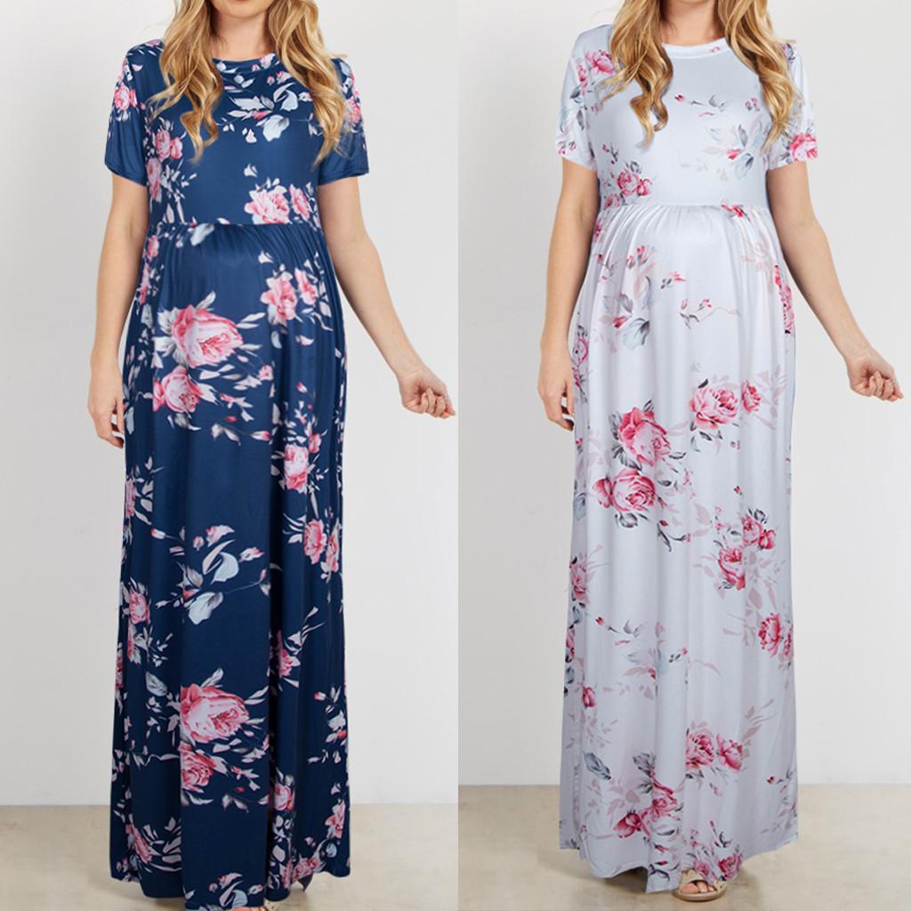 Gravidez Vestido de Algodão das Mulheres O-pescoço Manga Curta Estampa Floral Vestidos Longos Robe Grossesse Fotografia Adereços Roupas de Verão