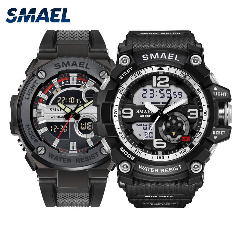 SMAEL Silver soprt men watch Set fashion digital multifunction LDE s warerproof male watches 1617 1625 relógio masculino