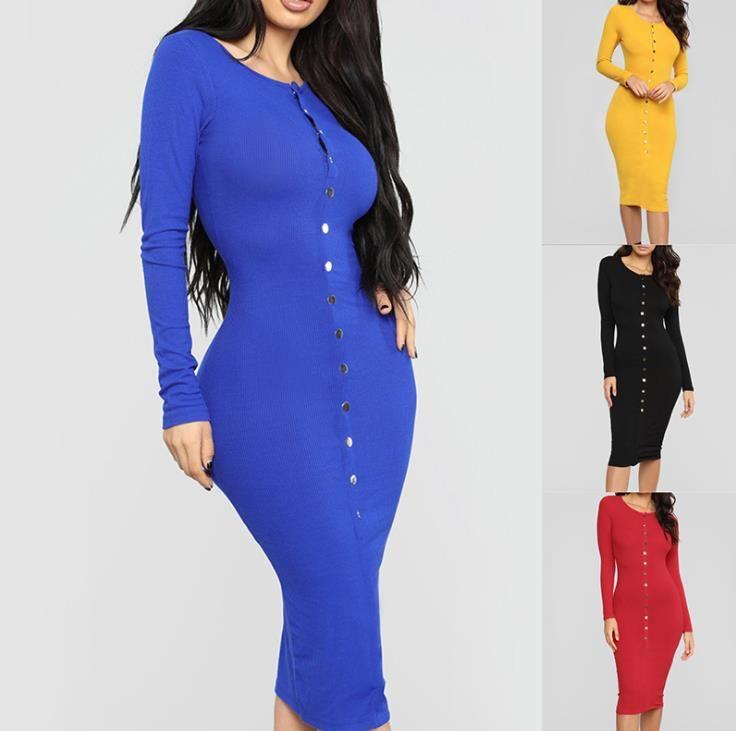 Herbst Frauen Designer Kleider Mode Candy Farbe Bodycon Kleider Womens Sexy Slim Kleider