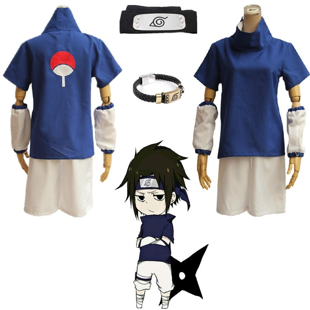 Asya Boyut Japonya Anime Naruto Cosplay Uchiha Sasuke Cadılar Bayramı Kostüm Mavi Hokage Kısa Kollu Unisex Üniforma