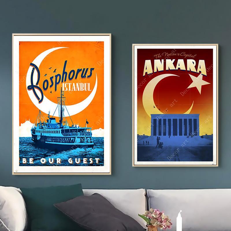 Vintage Ankara Turkey Travel Poster A3//A2//A1 Print