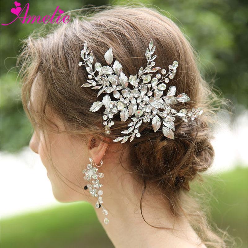 Düğün Takı Rhinestone Başlığı Çiçek ve Yaprak Saç Klip ve Gelin Kadınlar Için Küpe Barrette Saç Sapları Küpe