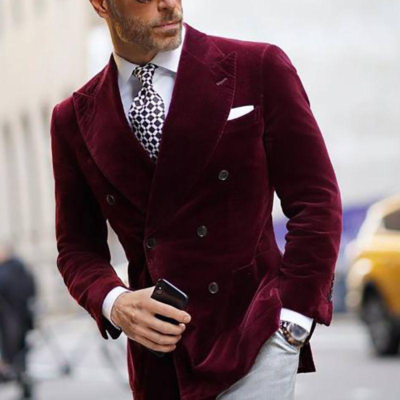 Mode Bourgogne Velvet Groom Wear Fit Slim Fit Double Courti-Britanné Business Business Baliness Bal Tuxedos Meilleur Homme Blazer Costume 1 pièce