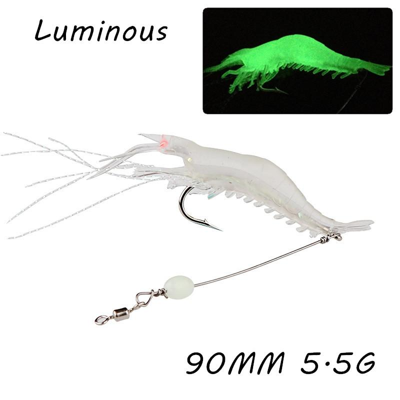 10pcs/lot 90mm 5.5g Luminous Shrimp Fishing Hooks Fishhooks Single Hook Soft Baits & Lures WA_26
