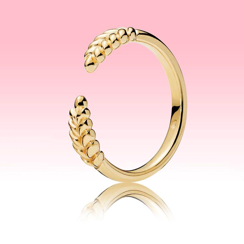 Jaune Gold Plated Grains Anneau Anneau Femmes Bijoux de mode pour hommes avec boîte d'origine pour Pandora Real 925 Silver Silver Set Haute Qualité