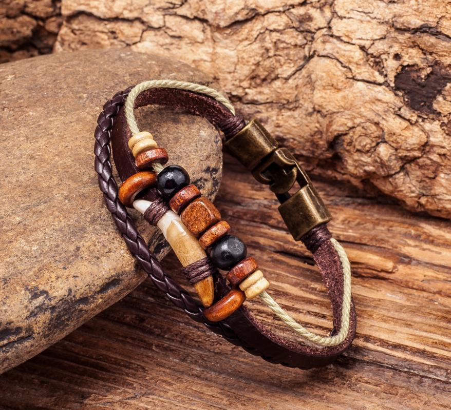 G276 Brown Cool Surfer Beach Leather Wood Beads Tribal Tooth Bracelet Wristband Cuff Men's