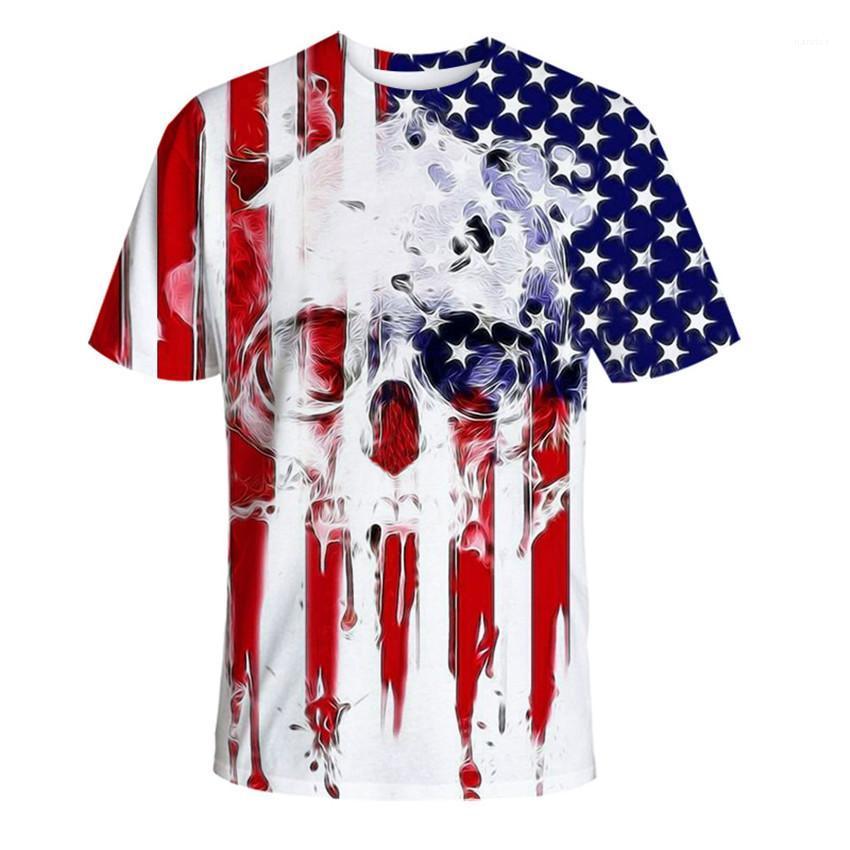 T-shirts imprimés USA Hommes T-shirts d'été ras du cou à manches courtes Drapeau Designer Skeleton Homme Hauts Casual Male