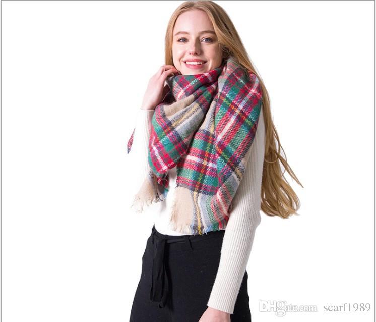 Otoño e invierno nuevo bufanda a cuadros europeos y americanos de cachemir de cachemira a cuadros chal cuadrado 140x140cm