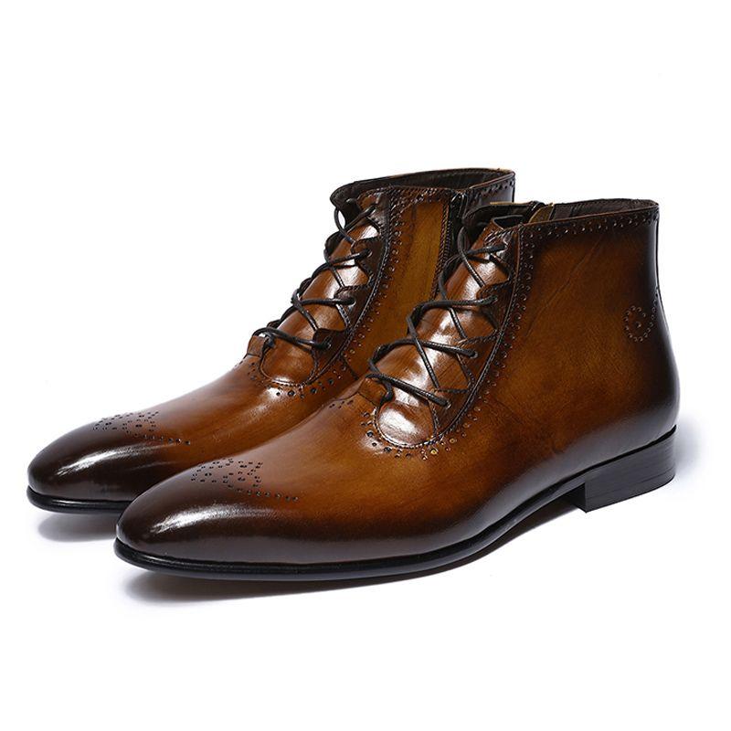 Mode-Design aus echtem Leder Männer Stiefeletten High Top Zip Lace Up Kleid Schuhe schwarz braun Mann grundlegende Stiefel
