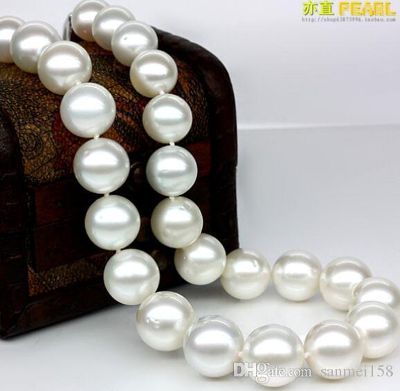 Plata 925 real natural grande Collar de perlas de agua de mar natural 10-11mm círculo mancha Nanyang blanco