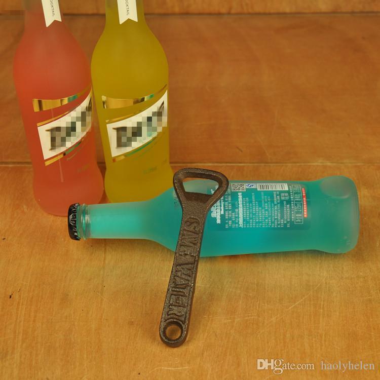 10 Pieces Cast Iron Hand Held Bottle Opener Rustic Brown Metal Beer Opener Handheld for Home Bar Pub Tavern Restaurant Home Decoration Craft