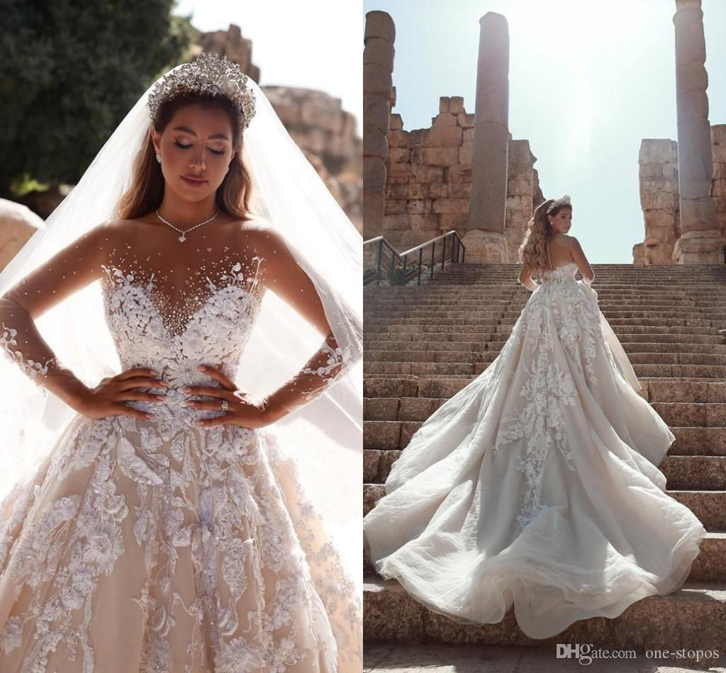 Discount Shinny Crystal Beaded A Line Wedding Dresses Luxury Long