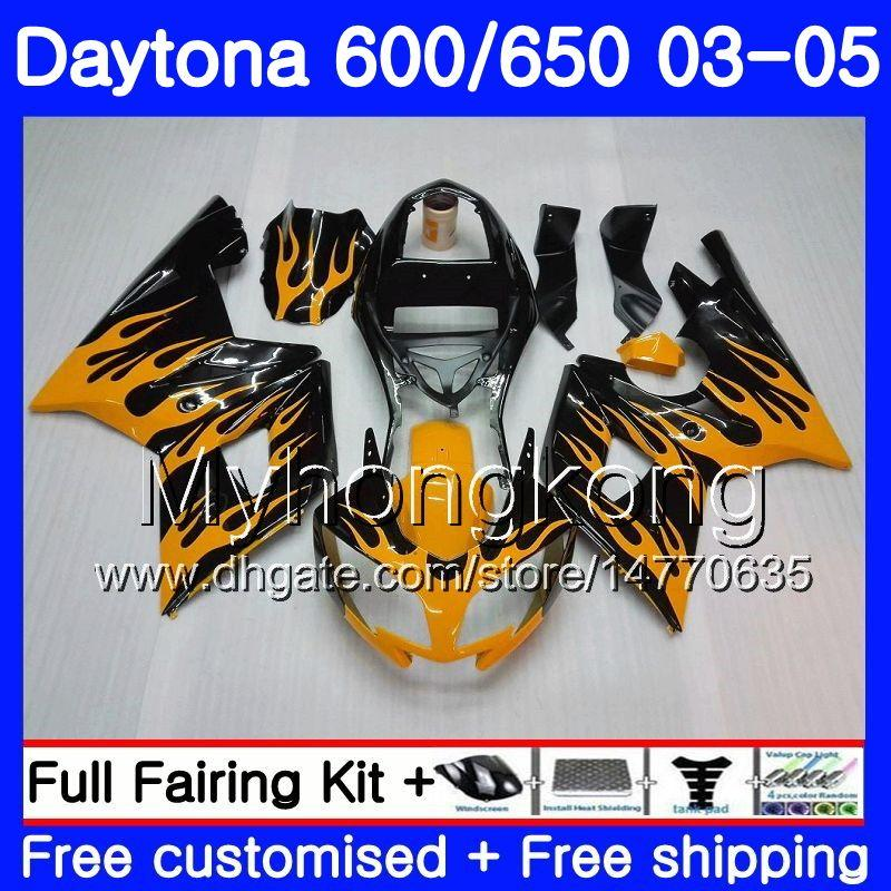 Body For Triumph Daytona600 Daytona 650 600 2002 2003 2004 2005 321HM.44 Daytona650 Daytona 600 02 03 04 05 Full Fairing Orange flames kit