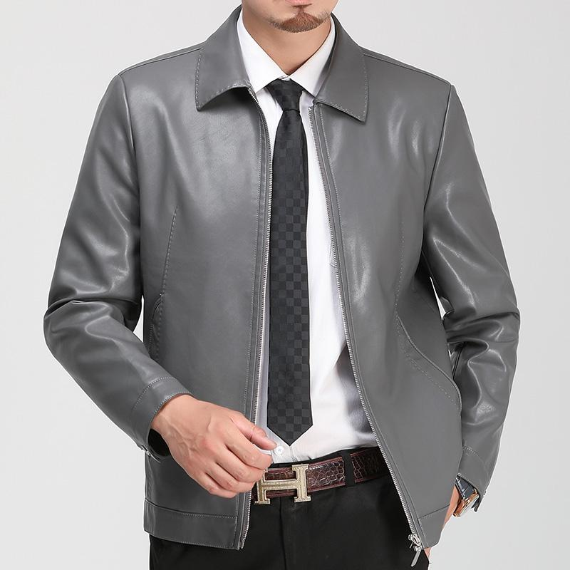 Faux Leather Leather Jackets Men's Clothing 2019 New Clothes Men's Thin Section Men Middle-aged Lapel Collar Slim Casual