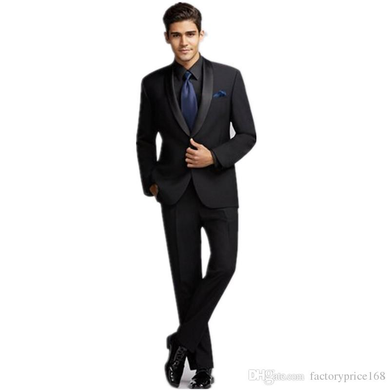 Populaire One Button garçons d'honneur châle revers marié smokings garçons d'honneur meilleur costume homme costumes de mariage des hommes époux (veste + pantalon + cravate) B162