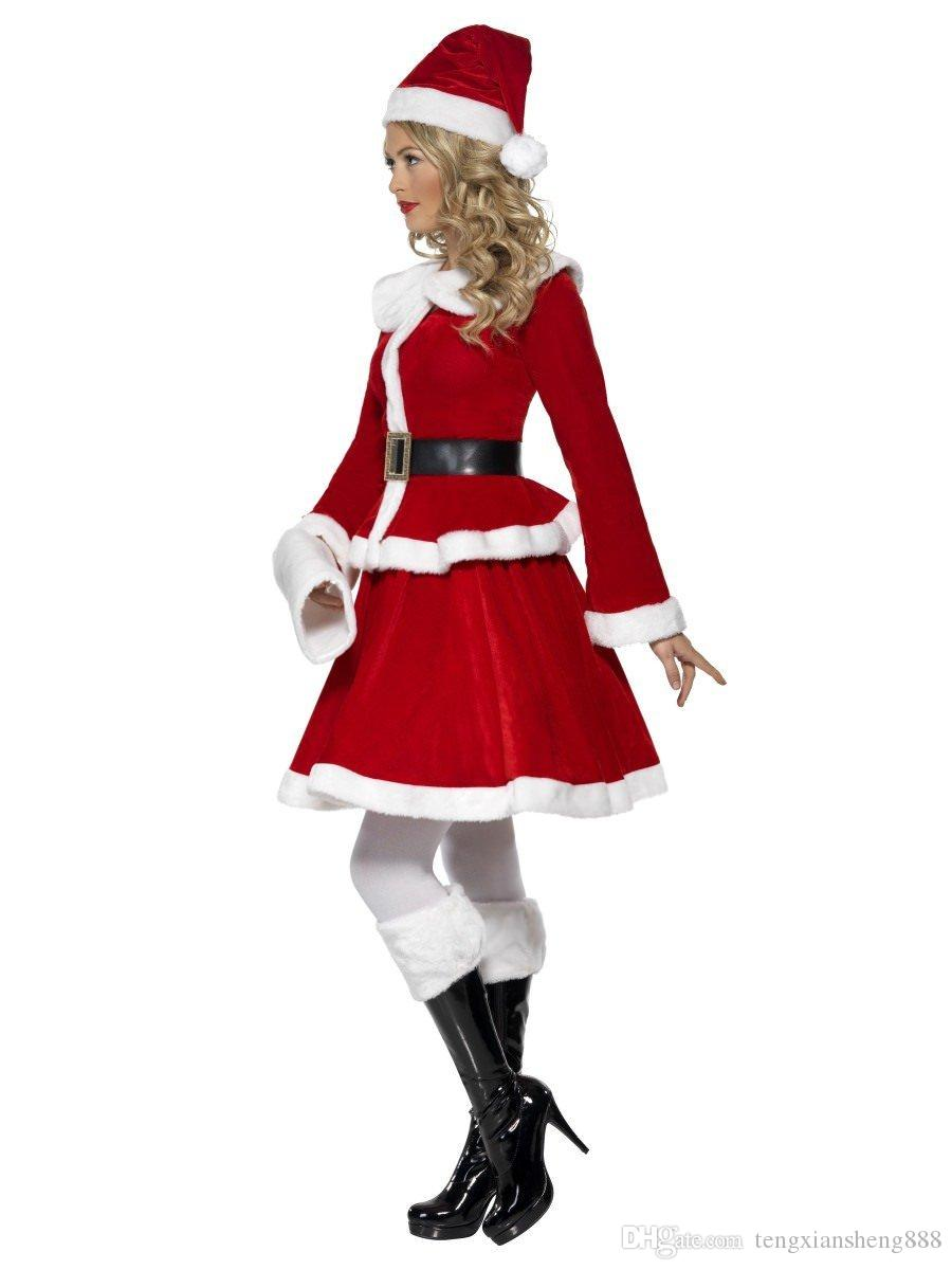 Santa Claus Christmas Costume Fancy Dress Adult Red Ladies Women One Size Mrs