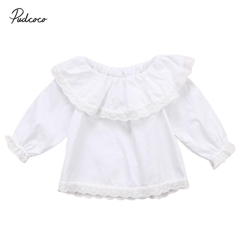 Pudcoco 0-24M nette Prinzessin Neugeborenes Baby T-Shirts Spitze weg Schulter Langarmshirts T-Shirts Kleidung