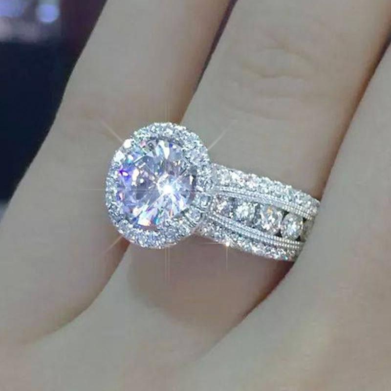 Sparking anelli di nozze zircone complete per il partito dei monili delle donne di colore argento superiore qualità lucido CZ Engagement delle signore delle ragazze regalo Bague