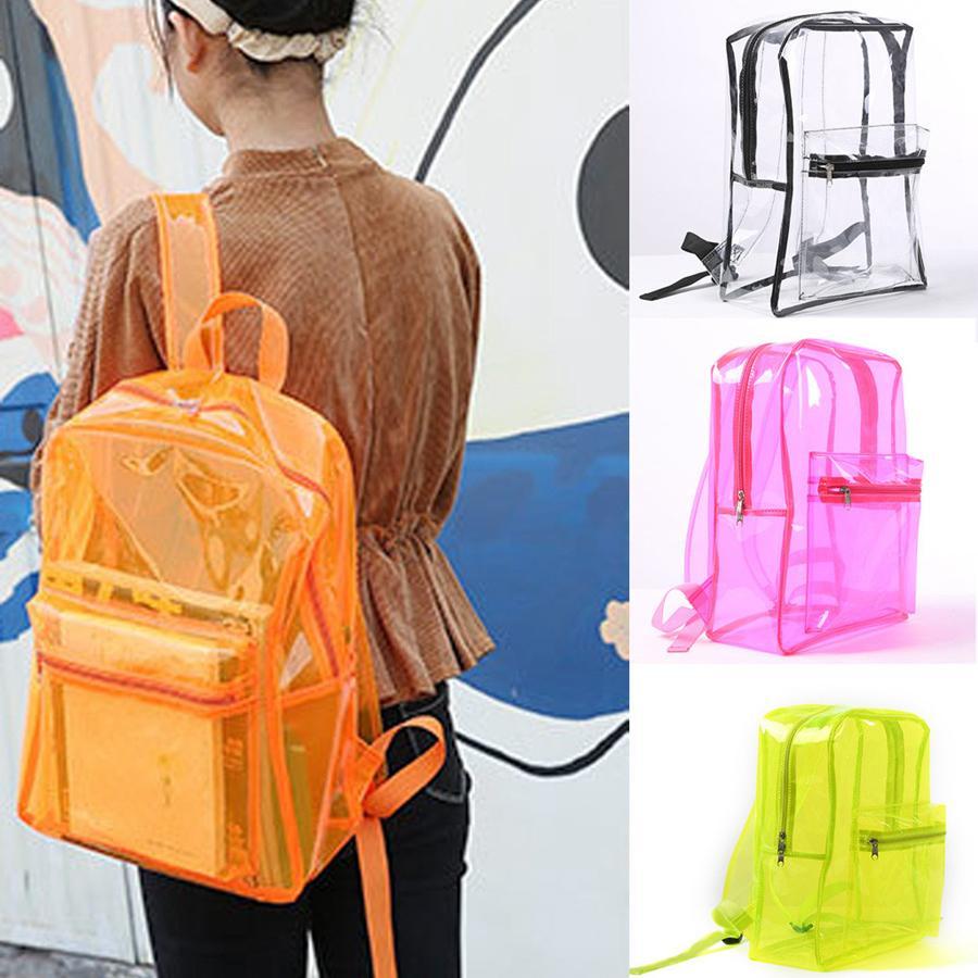 Прозрачный открытый рюкзак PVC Женская девушка Bookbacks Jelly Clear Rra1916 Водонепроницаемые мешки для хранения Школьника Студенческий пляж Мода qjgui