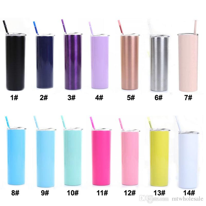 20oz Skinny Tumbler Cups Colorful Stainless steel Vacuum Insulated Straight Slim Bear Coffee Water Mugs Bottle Straws Cups 0012HOME-25