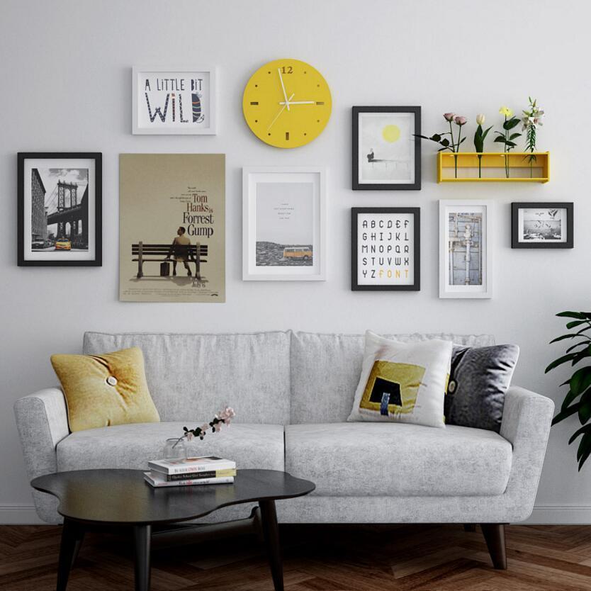Multi-кадр Современного Stype Большой фоторамка дома творческих часы фото стены украшение Рамка деревянных фото Набор кадры Wall