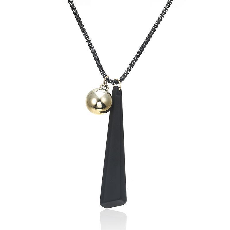 Encanto Moda Joyería Collar Largo De Madera De Aleación Cadena de oro colgante geométrica