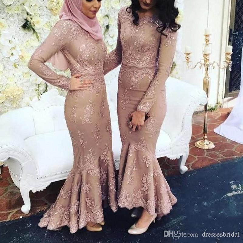 Akşam Elbise Müslüman abendkleider vestidos longo Uzun Abiye giyim Dantel avondjurken gala jurken Abiye Tam Kollu