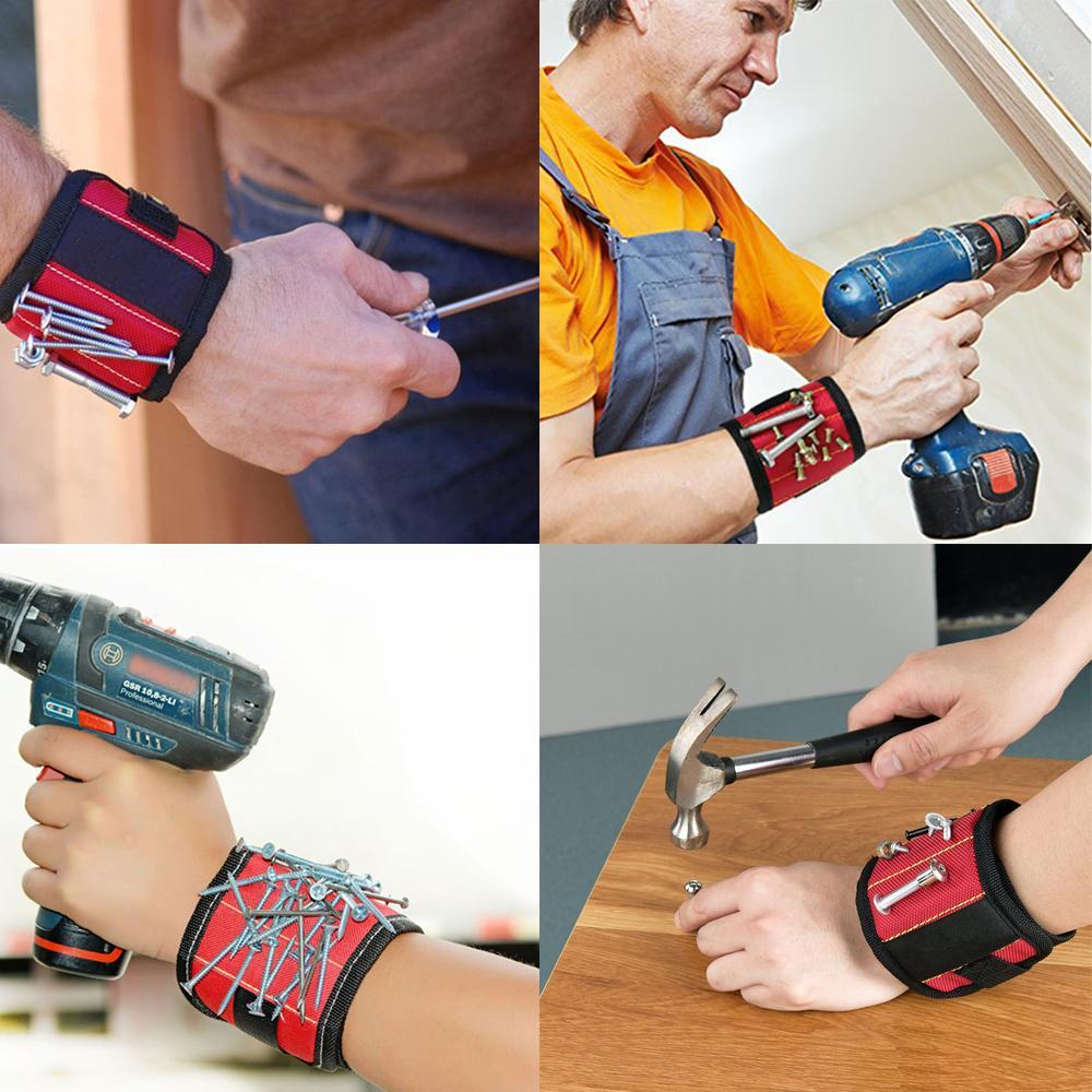 5Rows Nylon magnétique Wristband de poche Outil pratique poignet solide Chuck Toolkit Ceinture Sac pochette Vis Holder Outils de portefeuille GGA2930