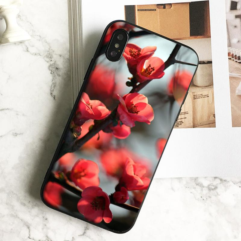 Capa Luxury Red Cherry Blossom Phone Case for iPhone 11 Pro Xs Max Xr 8 7 6s Plus 5 SE Case Soft Black TPU Silicone Cover.