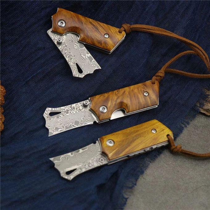 2020 New Arrival Mini Small Damascus Folding Knife VG10 Damascus Steel Blade Hardwood Handle Pocket Folding Knives Gift Knife