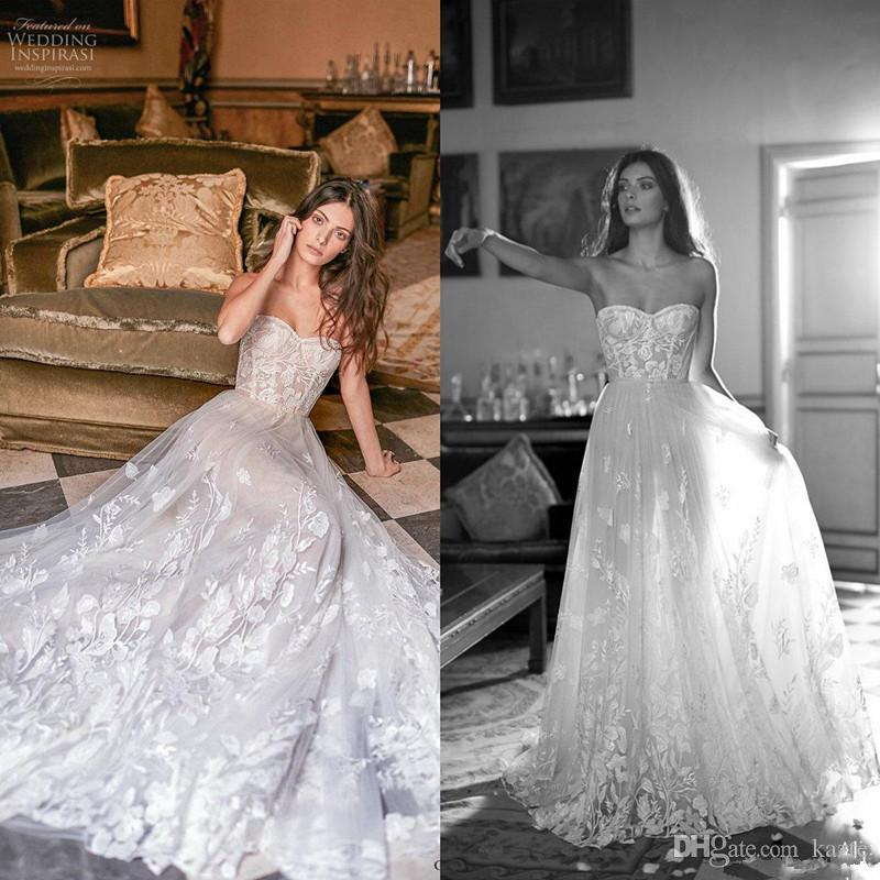 Gali Karten Wedding Dresses 2020 Modest Sweetheart Lace Applique Flowy Skirt Beach Bohemian Bride Wedding Gown vestido de noiva