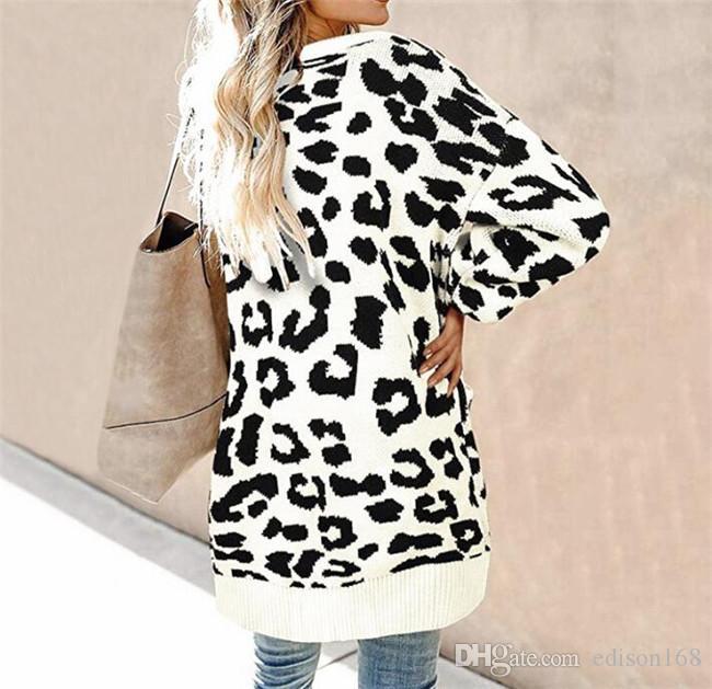 Hot New Women Sweater Höst Vinter Mode Kvinnor Medium och Long Lantern Sleeve Knapp Leopard Tröja