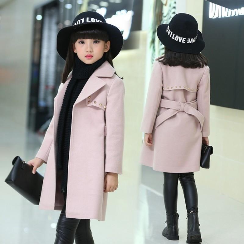 Chaquetas de invierno para niñas Outwear niños capa gruesa de chicas traje para la nieve del bebé Chaquetas Mezclas niño de piel de abrigos de lana ropa de los niños