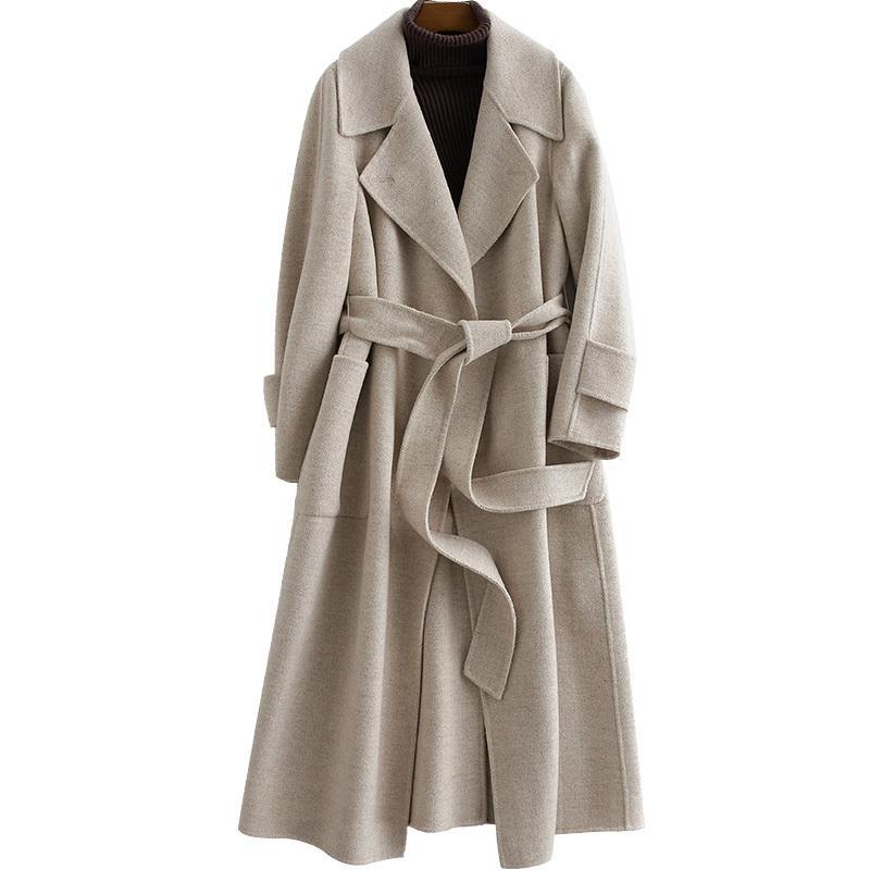 % 100 Yün Ceket Sonbahar Kış Ceket Kadınlar Giyim Kore İnce Balıksırtı Çift Yan Yün Coat Casaco Feminino ZT763
