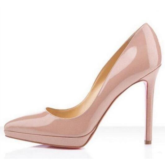 Zapatos de marca para mujer Zapatos de mujer Zapatos de tacón alto con tacones bajos rojos para mujer Tacones altos negros 12 CM PU Zapatos de boda de charol