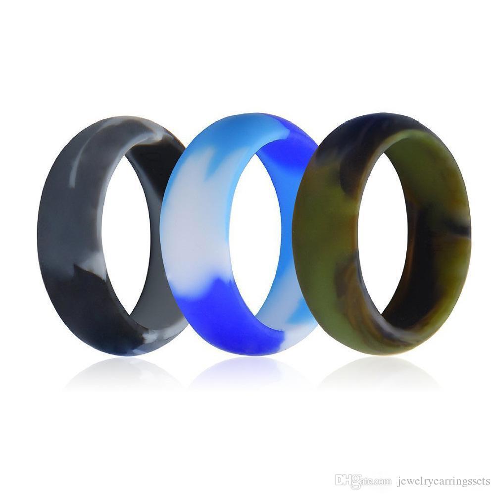 3 unid / lote 8 mm grado alimentario FDA anillo de silicona hipoalergénico Crossfit camuflaje flexible anillos de dedo de goma para hombres mujeres joyería a granel